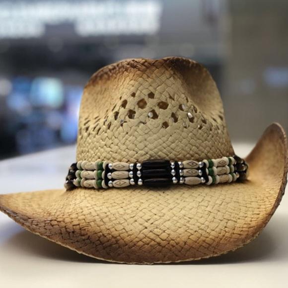 NEW Boho Cowboy Hat Beaded Band Festival Chic 40b0fe8a354f
